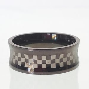 Other - Black silver checkered biker band ring